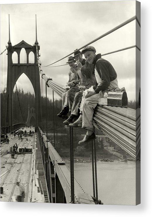 St. John's Bridge Acrylic Print featuring the photograph Men On Bridge by Ray Atkeson