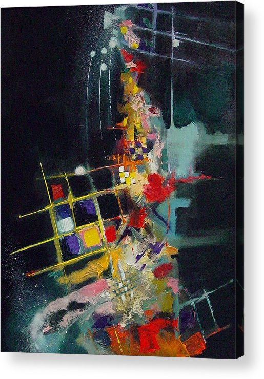 Abstract Acrylic Print featuring the painting Night At The Tables by Ronald Dykes