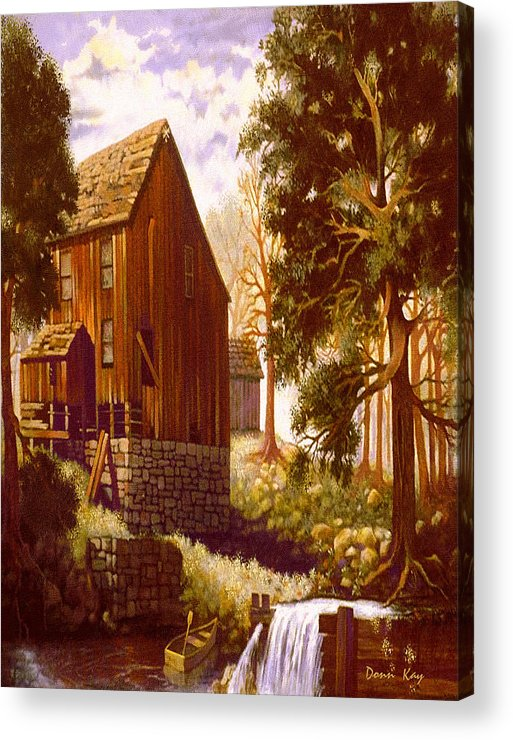 Barn Old Bildings Texas Waterfall Boat Oak Tree Giclee Print Acrylic Print featuring the painting Old Mill At River Bend by Donn Kay