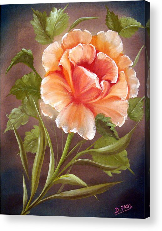 Rose Acrylic Print featuring the painting Rose Tropicana by David G Paul