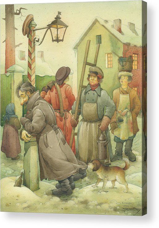 Russian Winter Acrylic Print featuring the painting Russian Scene 06 by Kestutis Kasparavicius