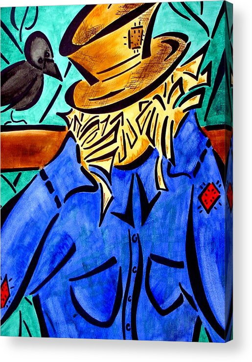 Scarecrow Acrylic Print featuring the painting Scarecrow by Meilena Hauslendale