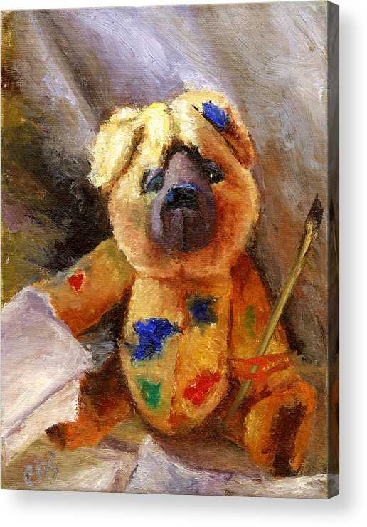 Teddy Bear Art Acrylic Print featuring the painting Stuffed With Luv by Chris Neil Smith