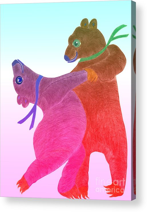 Bears Acrylic Print featuring the painting Tango Bears by Tess M J Iroldi