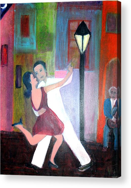 Urban Landscape Acrylic Print featuring the painting Veux Tu Tango by Michela Akers