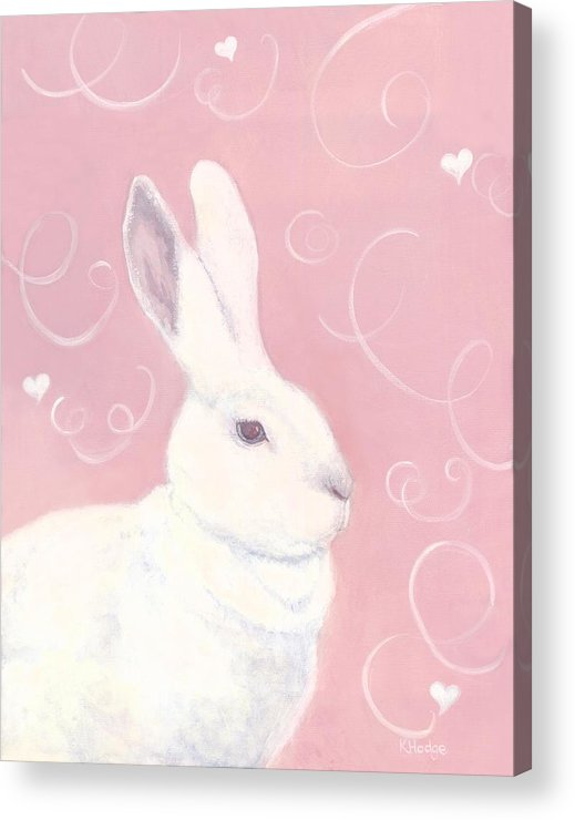 Rabbit Acrylic Print featuring the painting Victoria Valentine by Kimberly Hodge