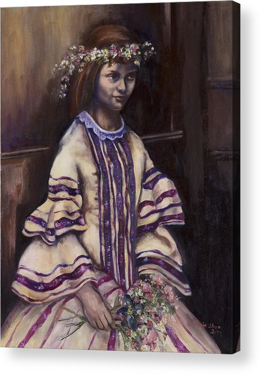 Portrait Acrylic Print featuring the painting Victorian Girl by Victoria Shea
