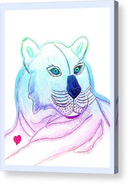Wild Cat Acrylic Print featuring the painting Zamir by Tess M J Iroldi
