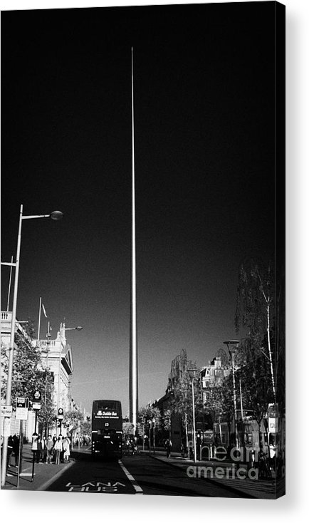 Dublin Acrylic Print featuring the photograph millennium needle spire of dublin monument of light and dublin bus in road in O'Connell Street Dublin by Joe Fox