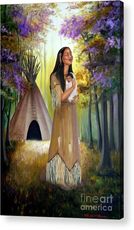 Native American Acrylic Print featuring the painting Native American Mother And Child by Lora Duguay