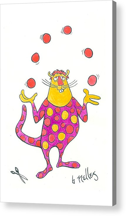 Juggling Acrylic Print featuring the painting Creature Juggling Polka Dots by Barry Nelles Art