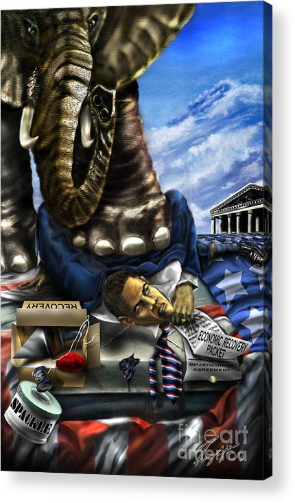 Political Satire Painting Acrylic Print featuring the painting Obama by Reggie Duffie