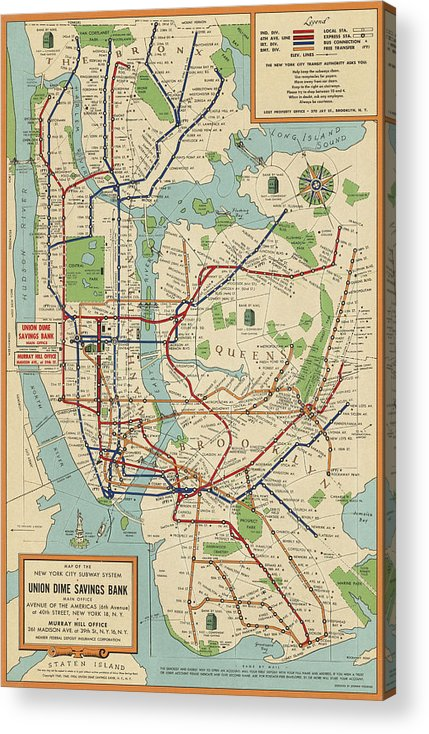 Subway Map For New York City.Old New York City Subway Map By Stephen Voorhies 1954 Acrylic Print