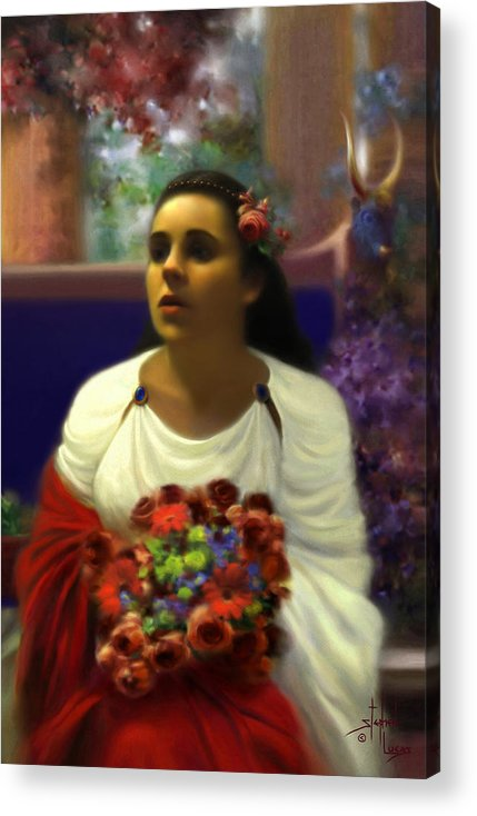 Goddess Acrylic Print featuring the digital art Priestess Of The Floral Temple by Stephen Lucas