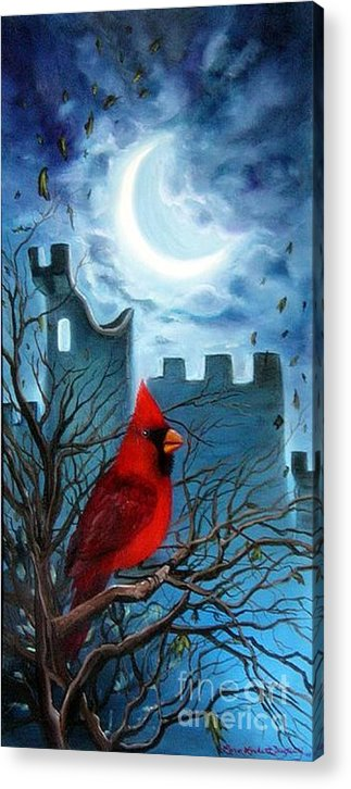 Cardinal Acrylic Print featuring the painting The Cardinal by Lora Duguay