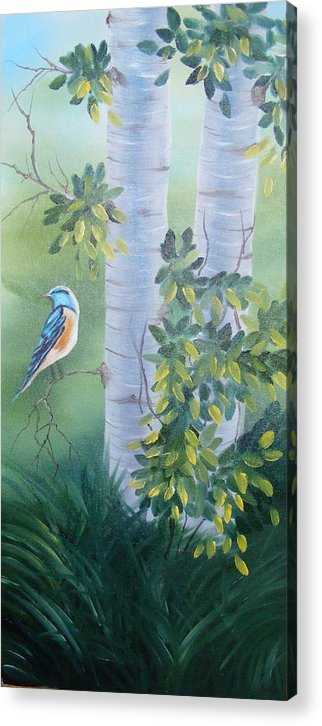 Birds Acrylic Print featuring the painting Blue Bird In A Birch by Tina Brown