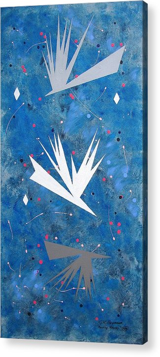 Birds And Diamond Stars Acrylic Print featuring the painting Feeding Frenzy by J R Seymour
