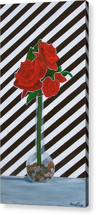 Flowers Acrylic Print featuring the painting Four Roses by Marcia Paige