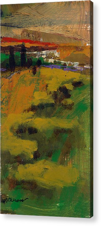 Sunset Acrylic Print featuring the painting Hillside by Dale Witherow