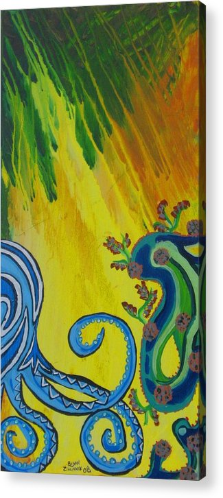Octopus Painting Acrylic Print featuring the painting Octopus by Bryan Zingmark