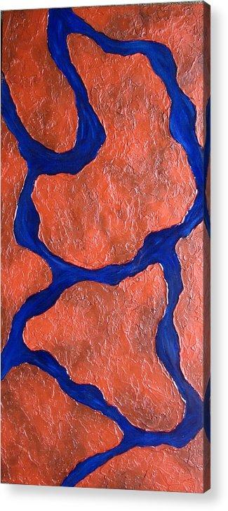 Mixed Media Acrylic Print featuring the painting Stone Edge Iv by Sophia Elise
