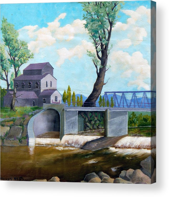 Old Acrylic Print featuring the painting Old Water Mill by Sergey Bezhinets