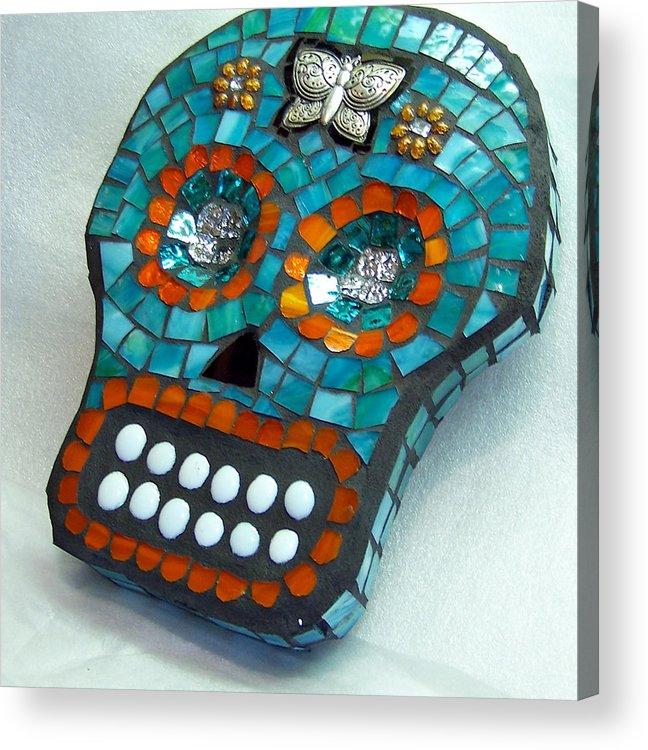 Dotd Acrylic Print featuring the glass art Sugar Skull by Jenny Bowman