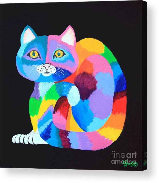 Cat Acrylic Print featuring the painting Colorful Rainbow Cat by Nick Gustafson