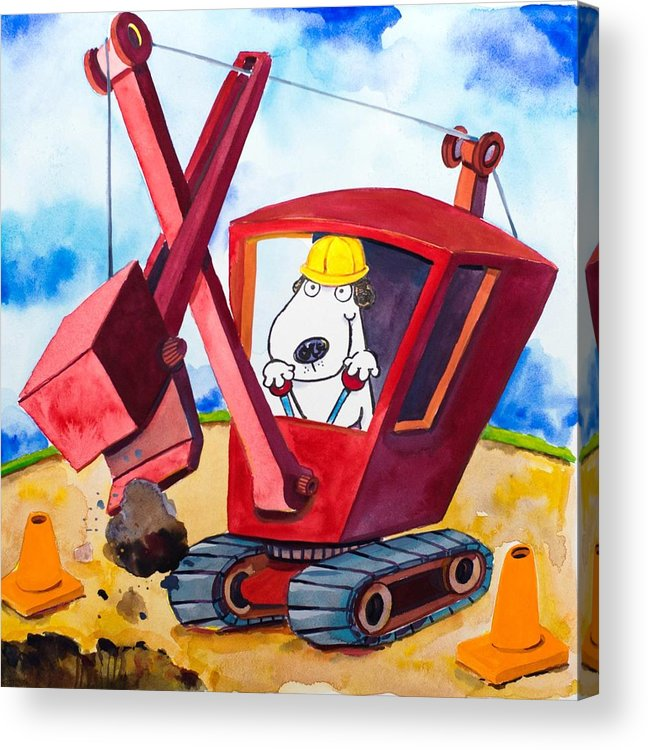 Dog Acrylic Print featuring the painting Construction Dogs 2 by Scott Nelson