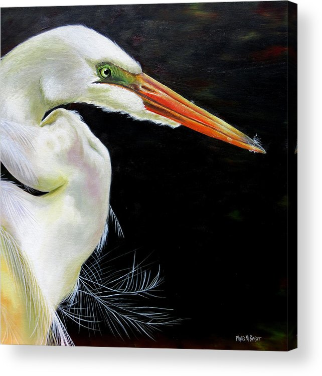 Great White Heron Acrylic Print featuring the painting Enticement by Phyllis Beiser