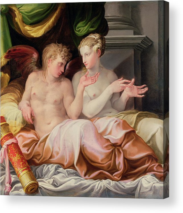 Eros And Psyche Acrylic Print featuring the painting Eros And Psyche by Niccolo dell Abate