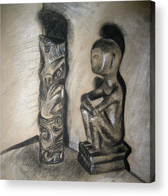 Figures Acrylic Print featuring the drawing Indio by Jessica De la Torre