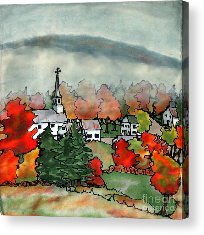 Village Acrylic Print featuring the painting Lifting Fog Silk Painting by Linda Marcille