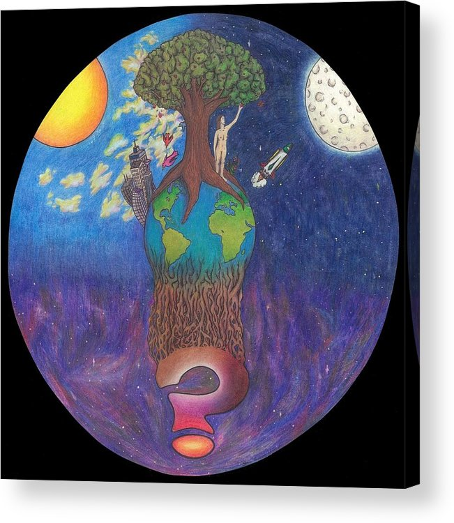 Surrealism Acrylic Print featuring the drawing Mystery World by Steve Weber