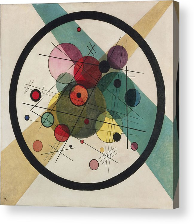 Circles In A Circle Wassily Kandinsky Acrylic Print featuring the painting Painting by Wassily Kandinsky