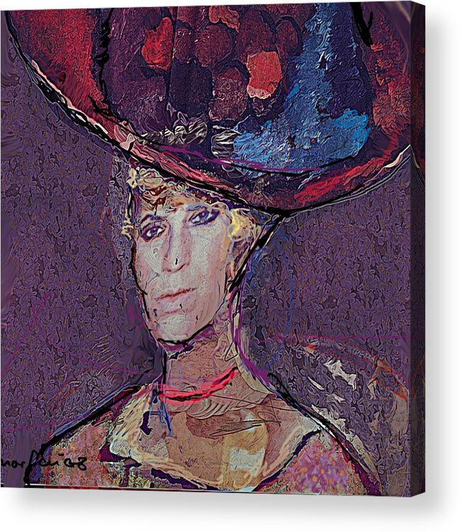 Hat Acrylic Print featuring the painting Red Hat by Noredin Morgan