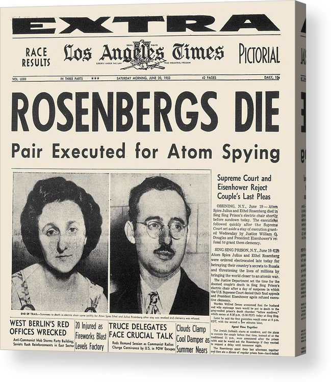 1953 Acrylic Print featuring the photograph Rosenberg Execution, 1953 by Granger