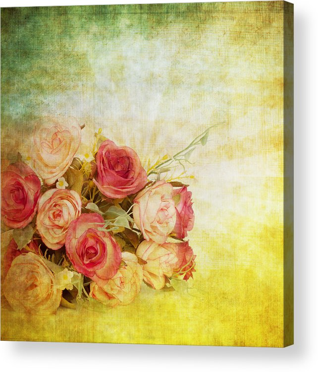 Abstract Acrylic Print featuring the painting Roses Pattern Retro Design by Setsiri Silapasuwanchai