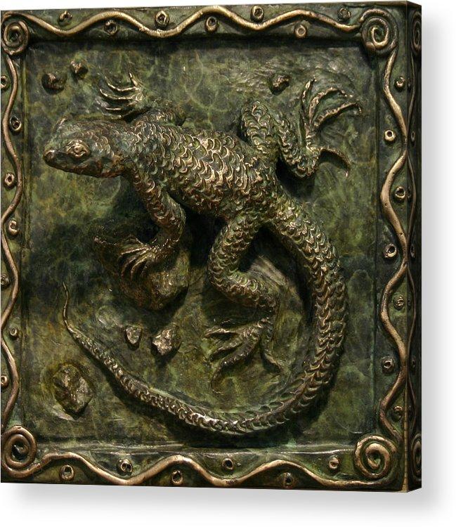 Miniature Acrylic Print featuring the sculpture Sagebrush Lizard by Dawn Senior-Trask