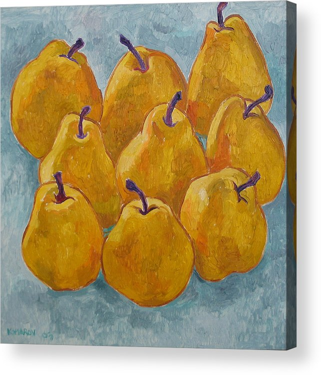 Pears Acrylic Print featuring the painting Yellow Pears by Vitali Komarov