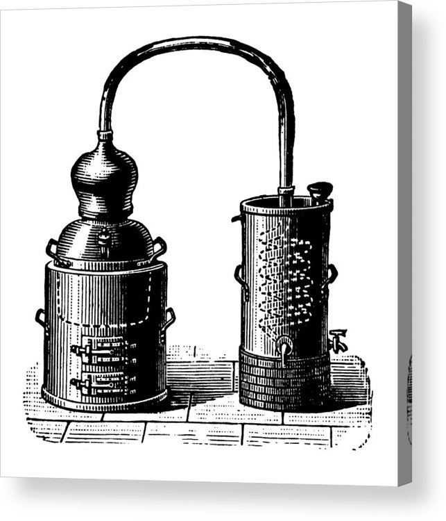 Engraving Acrylic Print featuring the digital art Alembic | Antique Design Illustrations by Nicoolay