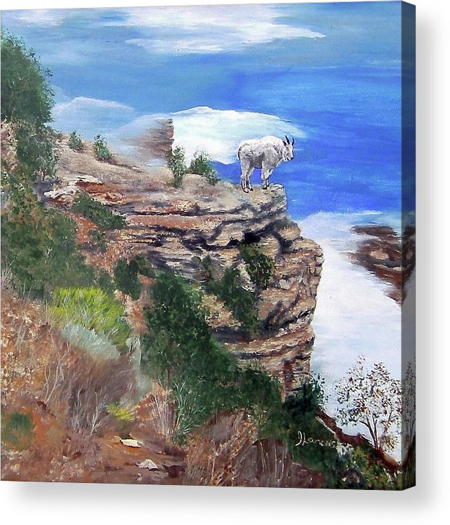 Mountain Acrylic Print featuring the painting Mountain Goat by Julie Lamons