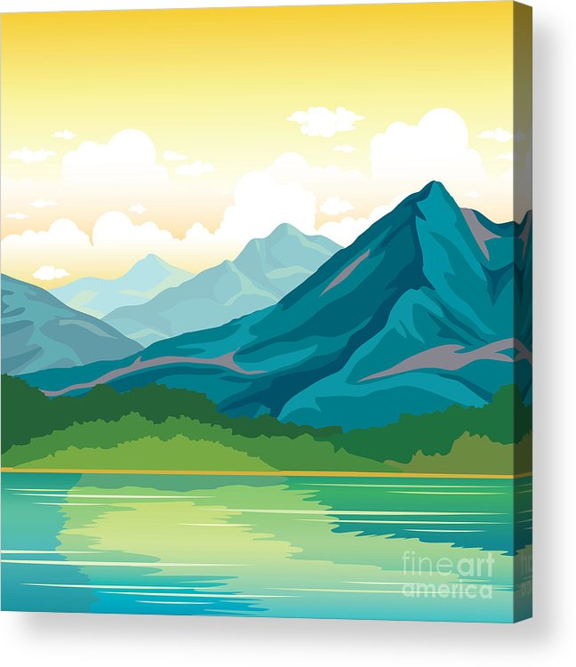 Forest Acrylic Print featuring the digital art Summer Landscape - Blue Mountains With by Natali Snailcat
