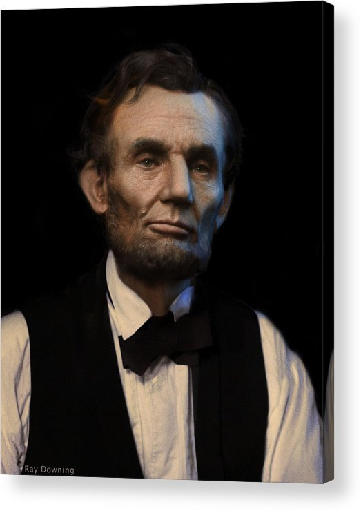 Abraham Lincoln Acrylic Print featuring the digital art Abraham Lincoln Portrait by Ray Downing
