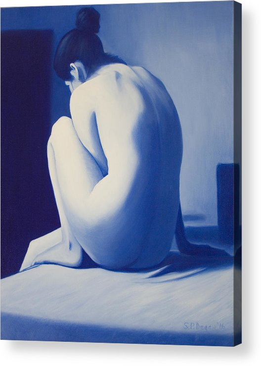 Figure Acrylic Print featuring the painting Back To Blue by Stephen Degan