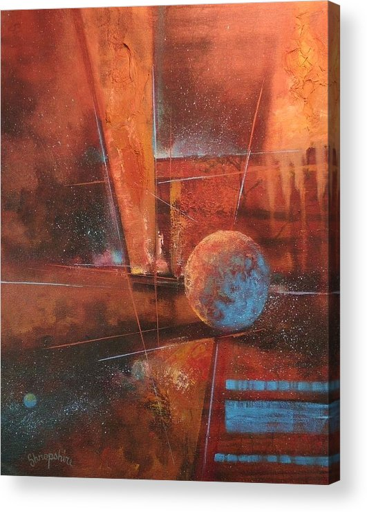 Abstract Art Acrylic Print featuring the painting Blue Planet by Tom Shropshire