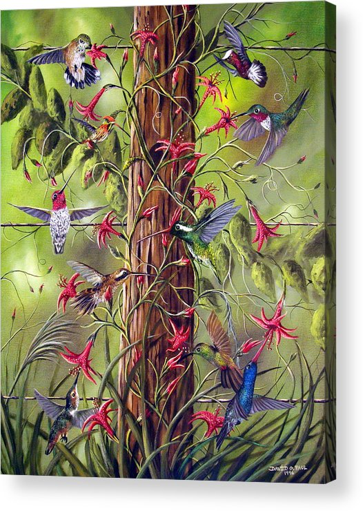 Birds Acrylic Print featuring the painting Gathering At The Fencepost by David G Paul