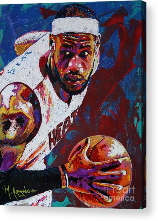 Lebron Acrylic Print featuring the painting King James by Maria Arango