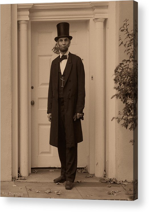 Abraham Lincoln Acrylic Print featuring the digital art Lincoln Leaving A Building by Ray Downing