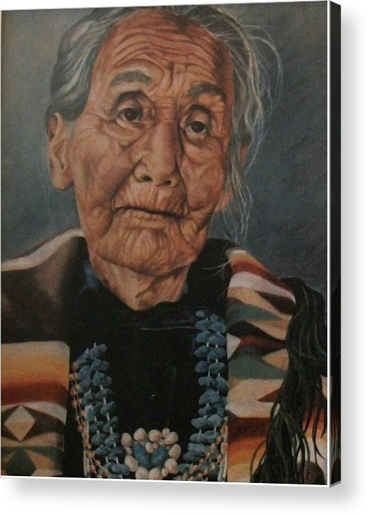 Portrait Acrylic Print featuring the painting Monument Valley Lady by Wanda Dansereau